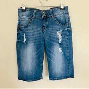 !iT Long Rider Bermuda Jean Shorts w/ distressing